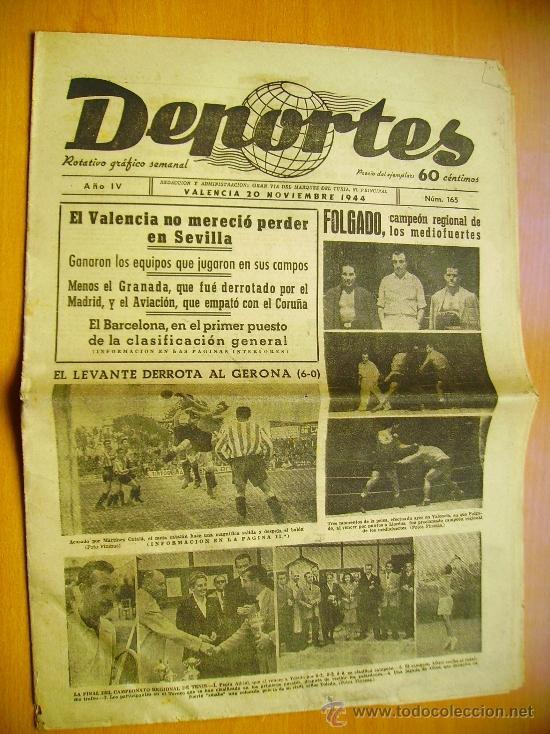 DEPORTES Nº165- 20/11/44-EL LEVANTE-EL BARCELONA- EL MADRID-EL MURCIA- EL ATLÉTICO DE BILBAO (Coleccionismo Deportivo - Revistas y Periódicos - otros Fútbol)