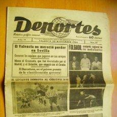 Coleccionismo deportivo: DEPORTES Nº165- 20/11/44-EL LEVANTE-EL BARCELONA- EL MADRID-EL MURCIA- EL ATLÉTICO DE BILBAO. Lote 34350325