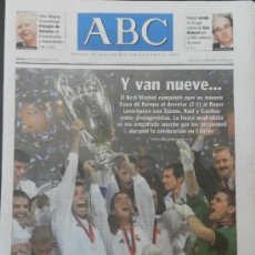 Coleccionismo deportivo: DIARIO ABC REAL MADRID CAMPEON CHAMPIONS LEAGUE 2001/2002 LA NOVENA COPA DE EUROPA GLASGOW 2002. Lote 35531348