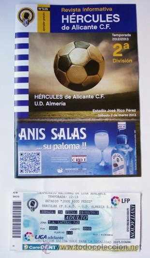 REVISTA FÚTBOL Y ENTRADA HÉRCULES DE ALICANTE Y ALMERIA ESTADIO JOSE RICO PÉREZ 2 DE MARZO 2013 (Coleccionismo Deportivo - Revistas y Periódicos - otros Fútbol)