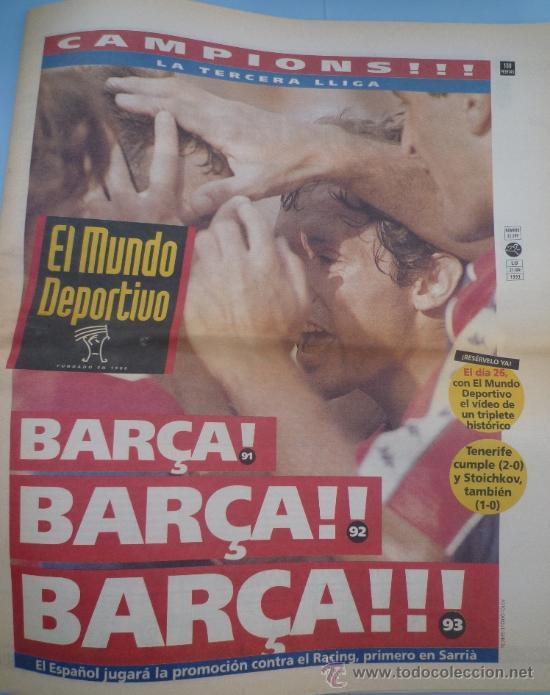 MUNDO DEPORTIVO BARÇA CAMPEÓN LIGA 1993 (Coleccionismo Deportivo - Revistas y Periódicos - otros Fútbol)