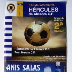 Coleccionismo deportivo: REVISTA FÚTBOL HÉRCULES DE ALICANTE-REAL MURCIA-ESTADIO JOSE RICO PÉREZ-REGALO DE LA ENTRADA AL PART. Lote 37975119