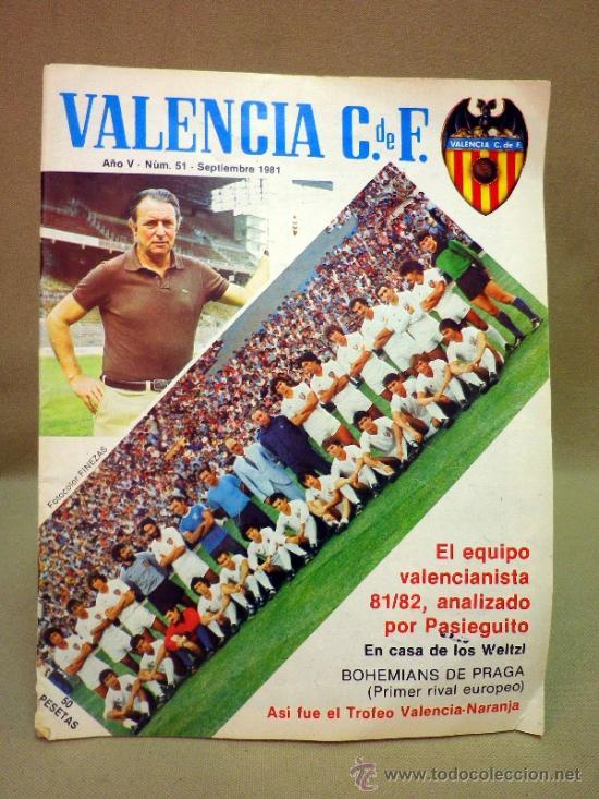 REVISTA DE FUTBOL, VALENCIA CF, Nº 51, SEPTIEMBRE DE 1981, BOHEMIANS DE PRAGA (Coleccionismo Deportivo - Revistas y Periódicos - otros Fútbol)