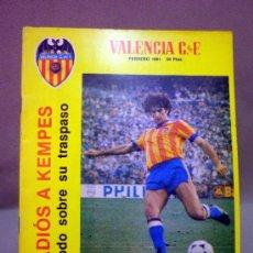 Coleccionismo deportivo: REVISTA DE FUTBOL, VALENCIA CF, Nº 44, FEBRERO DE 1981, ADIOS A KEMPES, PLANTILLA DEL MESTALLA. Lote 38202626