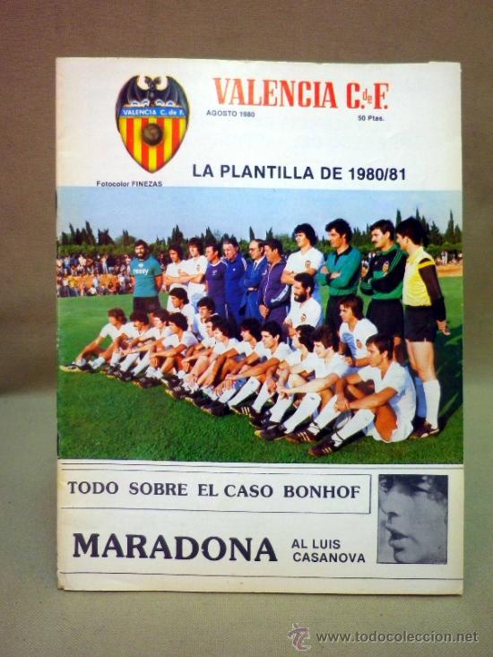 REVISTA DE FUTBOL, VALENCIA CF, Nº 38, AGOSTO DE 1980, LA PLANTILLA DEL 80/81 (Coleccionismo Deportivo - Revistas y Periódicos - otros Fútbol)