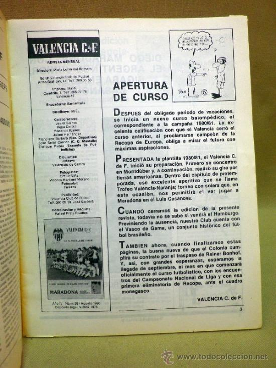 Coleccionismo deportivo: REVISTA DE FUTBOL, VALENCIA CF, Nº 38, AGOSTO DE 1980, LA PLANTILLA DEL 80/81 - Foto 2 - 38203195