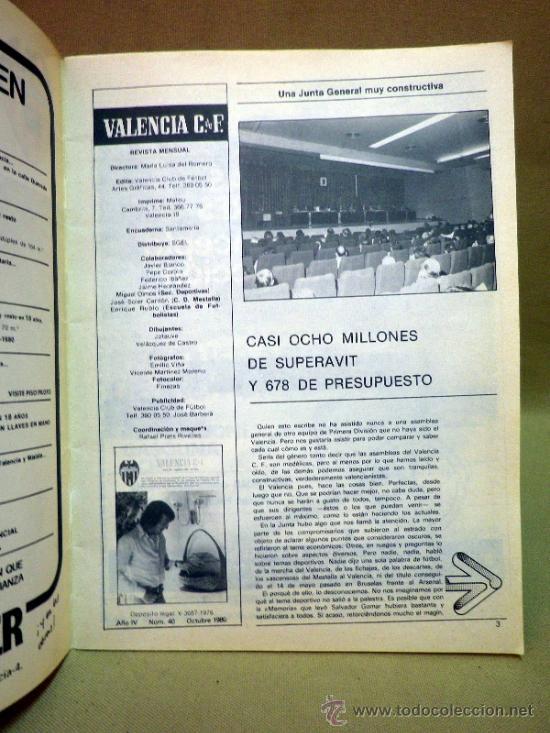 Coleccionismo deportivo: REVISTA DE FUTBOL, VALENCIA CF, Nº 40, OCTUBRE DE 1980, OBRAS PARA EL MUNDIAL 82 - Foto 2 - 38203151