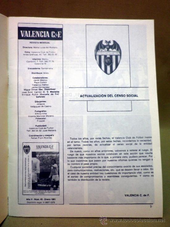 Coleccionismo deportivo: REVISTA DE FUTBOL, VALENCIA CF, Nº 43, ENERO DE 1981, INFORMACION DE LIGA Y COPA - Foto 2 - 38202672