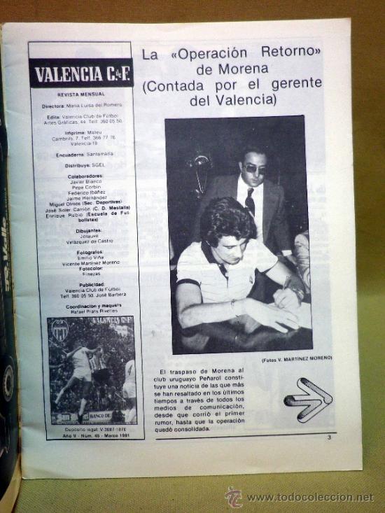 Coleccionismo deportivo: REVISTA DE FUTBOL, VALENCIA CF, Nº 45, MARZO DE 1981, TRASPASO DE MORENA - Foto 2 - 38202583