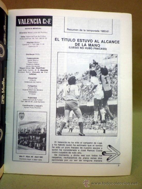 Coleccionismo deportivo: REVISTA DE FUTBOL, VALENCIA CF, Nº 46, ABRIL DE 1981, TROFEOS, REPASO DE LA TEMPORADA - Foto 2 - 38202544