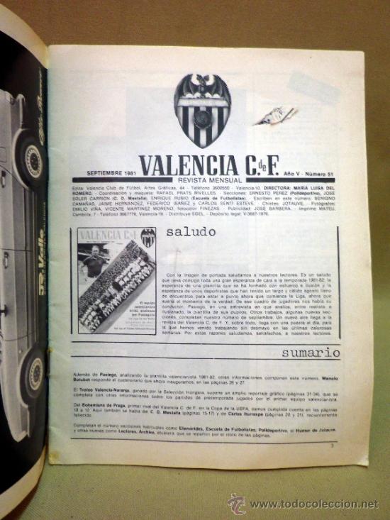 Coleccionismo deportivo: REVISTA DE FUTBOL, VALENCIA CF, Nº 51, SEPTIEMBRE DE 1981, BOHEMIANS DE PRAGA - Foto 2 - 38202475
