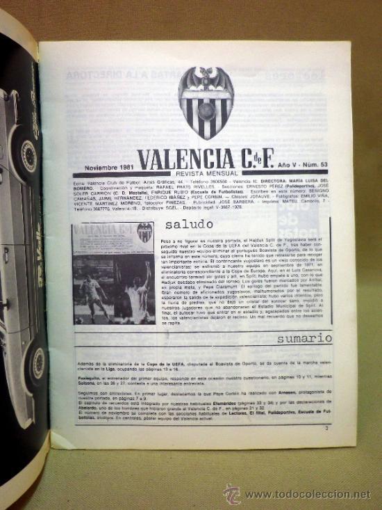 Coleccionismo deportivo: REVISTA DE FUTBOL, VALENCIA CF, Nº 53, NOVIEMBRE DE 1981, POSTER CENTRAL VALENCIA CF - Foto 2 - 38202191