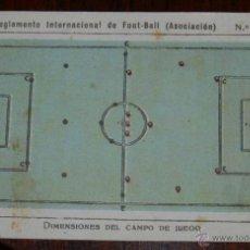 Coleccionismo deportivo: ANTIGUO CROMO DEL REGLAMENTO INTERNACIONAL DE FOOT-BALL, FUTBOL, Nº 1 REVERSO CON PUBLICIDAD DE LIBR. Lote 38279257