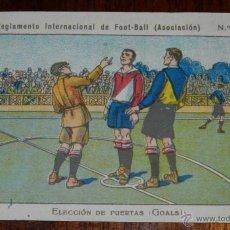 Coleccionismo deportivo: ANTIGUO CROMO DEL REGLAMENTO INTERNACIONAL DE FOOT-BALL, FUTBOL, Nº 2 REVERSO CON PUBLICIDAD DE LIBR. Lote 38279258