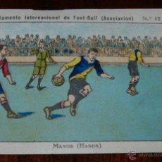Coleccionismo deportivo: ANTIGUO CROMO DEL REGLAMENTO INTERNACIONAL DE FOOT-BALL, FUTBOL, Nº 12 REVERSO CON PUBLICIDAD DE LIB. Lote 38279261