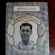 Coleccionismo deportivo: ANTIGUO CROMO DE FUTBOL DEL JUGADOR MONTESINOS, DEL R.C.D. ESPAÑOL., NAIPE DE BARAJA ESPAÑOLA CON PU. Lote 38282968