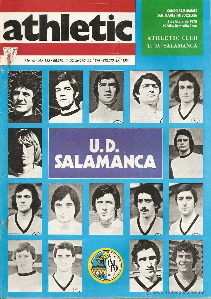 REVISTA ATHLETIC Nº 135, ÓRGANO OFICIAL DEL ATHLETIC CLUB BILBAO, DE 1977, FRENTE A U. D. SALAMANCA (Coleccionismo Deportivo - Revistas y Periódicos - otros Fútbol)