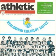 Collectionnisme sportif: REVISTA ATHLETIC Nº 136, ÓRGANO OFICIAL DEL ATHLETIC CLUB BILBAO, DE 1978, FRENTE REAL SOCIEDAD. Lote 40740445