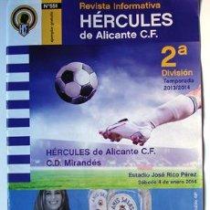 Coleccionismo deportivo: REVISTA INFORMATIVA HÉRCULES DE ALICANTE Y C.D. MIRANDES BURGOS-ESTADIO RICO PÉREZ-REGALO ENTRADA. Lote 40869968