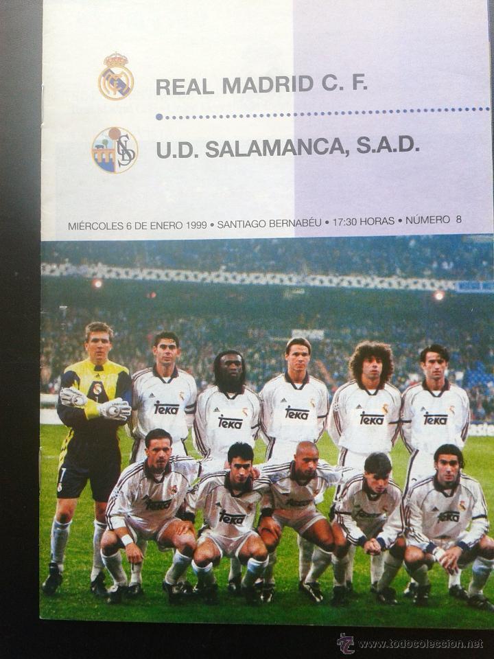 COLD - PROGRAMA OFICIAL MIERCOLES 6 DE ENERO 1999 **REAL MADRID C.F. - U.D.SALAMANCA (Coleccionismo Deportivo - Revistas y Periódicos - otros Fútbol)