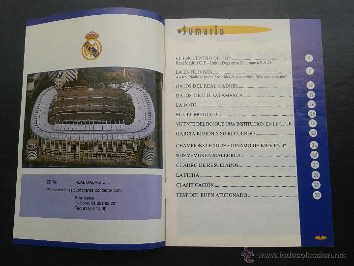 Coleccionismo deportivo: COLD - PROGRAMA OFICIAL MIERCOLES 6 DE ENERO 1999 **REAL MADRID C.F. - U.D.SALAMANCA - Foto 2 - 43236042