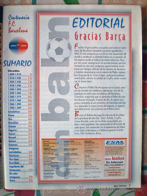 Coleccionismo deportivo: Revista don balón. Nº 45 Edición Especial CENTENARIO F.C. Barcelona 1899-1999 - Foto 6 - 43494571