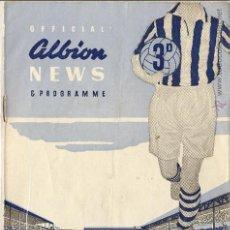 Coleccionismo deportivo: PROGRAMA PARTIDO AMISTOSO WEST BROMWICH ALBION -INGLATERRA-ATHLETIC BILBAO, 05 NOVIEMBRE 1958. Lote 46862010