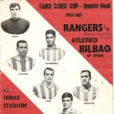 Coleccionismo deportivo: PROGRAMA PARTIDO COPA DE FERIAS -GLASGOW RANGER, Y ATHLETIC BILBAO, ESTADIO IBROX PARK ,19/03/1969. Lote 46862577