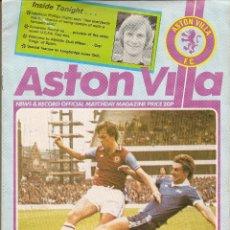 Coleccionismo deportivo: PROGRAMA OFICIAL PARTIDO COPA UEFA -ASTON VILLA (INGLATERRA) -ATHLETIC BILBAO, 23/11/1977.. Lote 46863590