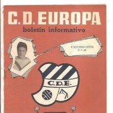 Coleccionismo deportivo: BOLETÍN C.D. EUROPA Nº 9 – TEMPORADA 1963-64 – REAL SOCIEDAD-EUROPA – 5 ENERO 1964. Lote 47094005