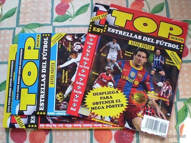 LOTE 4 MEGA PÓSTER TOP ESTRELLAS DEL FÚTBOL Nº 1, 2, 3, 4 (MESSI, CRISTIANO RONALDO, INIESTA...) (Coleccionismo Deportivo - Revistas y Periódicos - otros Fútbol)