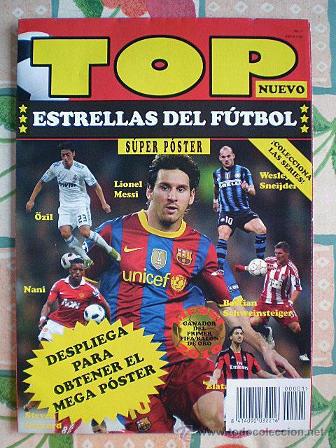Coleccionismo deportivo: Lote 4 mega póster Top Estrellas del Fútbol Nº 1, 2, 3, 4 (Messi, Cristiano Ronaldo, Iniesta...) - Foto 2 - 47578172