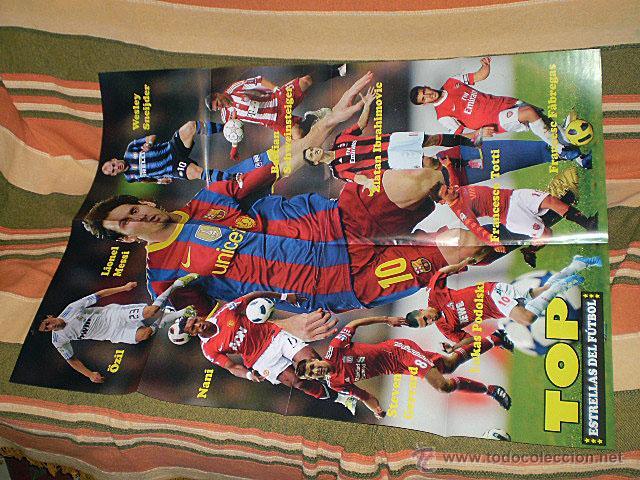 Coleccionismo deportivo: Lote 4 mega póster Top Estrellas del Fútbol Nº 1, 2, 3, 4 (Messi, Cristiano Ronaldo, Iniesta...) - Foto 7 - 47578172