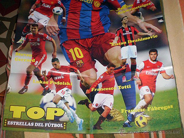 Coleccionismo deportivo: Lote 4 mega póster Top Estrellas del Fútbol Nº 1, 2, 3, 4 (Messi, Cristiano Ronaldo, Iniesta...) - Foto 9 - 47578172