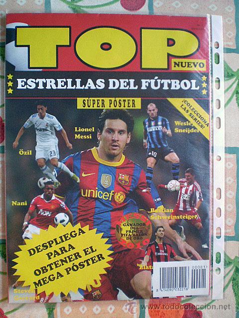 Coleccionismo deportivo: Lote 4 mega póster Top Estrellas del Fútbol Nº 1, 2, 3, 4 (Messi, Cristiano Ronaldo, Iniesta...) - Foto 10 - 47578172