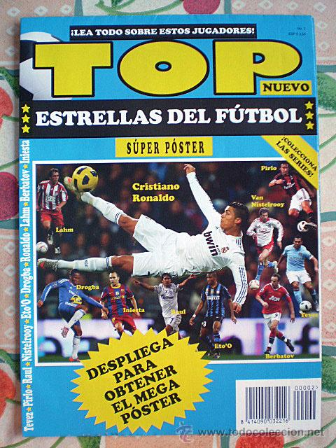 Coleccionismo deportivo: Lote 4 mega póster Top Estrellas del Fútbol Nº 1, 2, 3, 4 (Messi, Cristiano Ronaldo, Iniesta...) - Foto 11 - 47578172