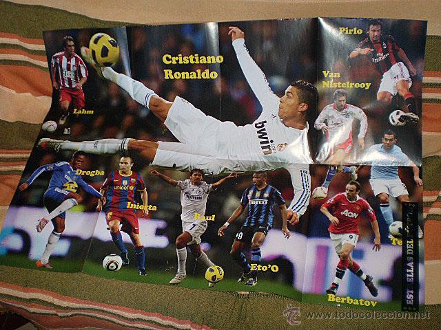 Coleccionismo deportivo: Lote 4 mega póster Top Estrellas del Fútbol Nº 1, 2, 3, 4 (Messi, Cristiano Ronaldo, Iniesta...) - Foto 16 - 47578172