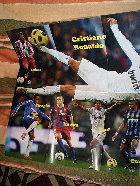 Coleccionismo deportivo: Lote 4 mega póster Top Estrellas del Fútbol Nº 1, 2, 3, 4 (Messi, Cristiano Ronaldo, Iniesta...) - Foto 17 - 47578172