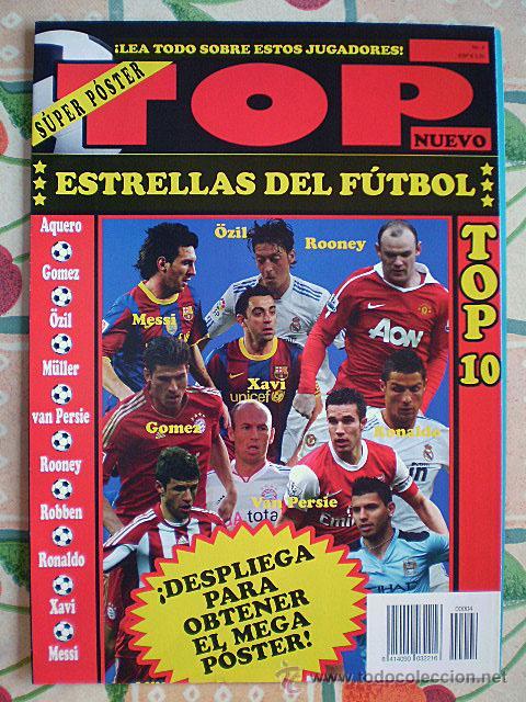 Coleccionismo deportivo: Lote 4 mega póster Top Estrellas del Fútbol Nº 1, 2, 3, 4 (Messi, Cristiano Ronaldo, Iniesta...) - Foto 29 - 47578172