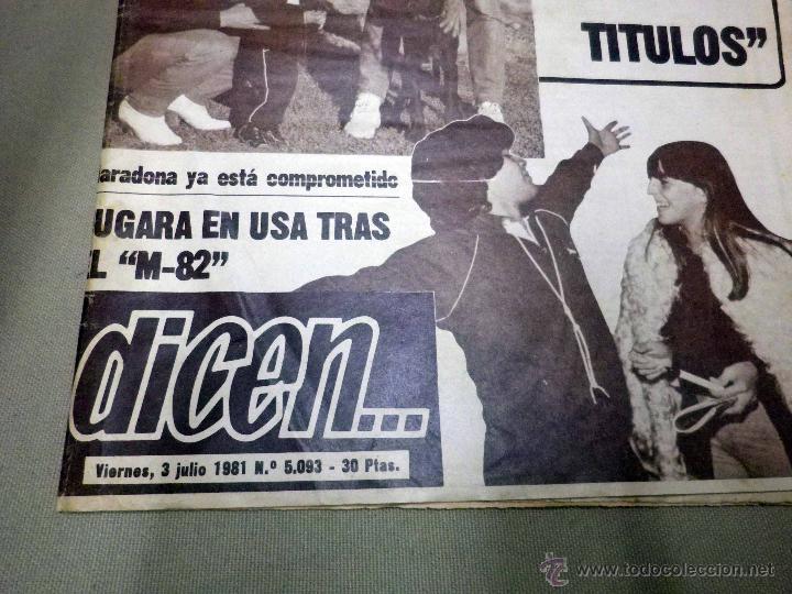 Coleccionismo deportivo: REVISTA DICEN, JULIO 1981, Nº 5093, FC BARCELONA, BARÇA, MARADONA, YA ESTA COMPROMETIDO, USA - Foto 2 - 50655832