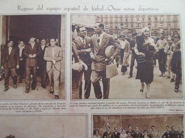 RECORTE 1930 - REAL MADRID ESTACION FRANCIA REGRESA ESPARZA RICARDO ZAMORA PRATS PEÑA (Coleccionismo Deportivo - Revistas y Periódicos - otros Fútbol)