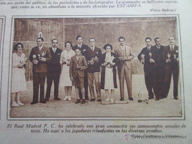 RECORTE 1930 - REAL MADRID CELEBRA SUS CAMPEONATOS ANUALES DE TENIS (Coleccionismo Deportivo - Revistas y Periódicos - otros Fútbol)