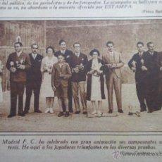 Coleccionismo deportivo: RECORTE 1930 - REAL MADRID CELEBRA SUS CAMPEONATOS ANUALES DE TENIS. Lote 51127708