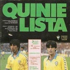 Coleccionismo deportivo: QUINIELISTA. Nº 83. LIGA 1985 - 1986. 85 - 86. CON PÓSTER DEL CÁDIZ CLUB DE FÚTBOL. VER FOTO.. Lote 51425553