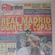 Coleccionismo deportivo: MERIDIANO CARACAS PERIÓDICO DEPORTIVO DE VENEZUELA DEL 21.5.1998 REAL MADRID GIGANTE DE COPAS. LA 7ª. Lote 51442976