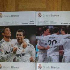 Coleccionismo deportivo: LOTE 4 REVISTAS GRADA BLANCA REAL MADRID ATLETICO VILLARREAL VALENCIA. Lote 51599376