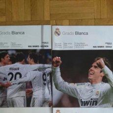 Coleccionismo deportivo: LOTE 4 REVISTAS GRADA BLANCA REAL MADRID SEVILLA BARCELONA ATLETICO MADRID VALENCIA. Lote 51599400