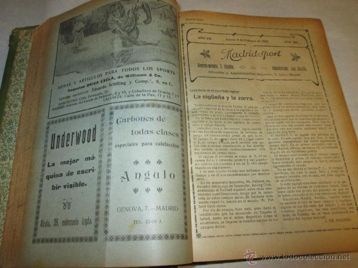 Coleccionismo deportivo: Madrid-Sport, año 1922 completo encuadernado, Real Madrid, Atletico, mucho fútbol y otros deportes - Foto 5 - 51810971