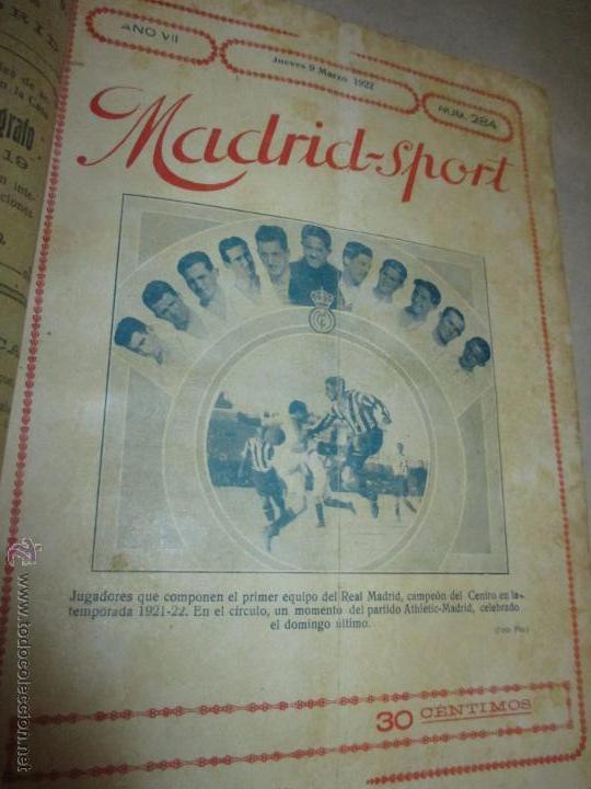 Coleccionismo deportivo: Madrid-Sport, año 1922 completo encuadernado, Real Madrid, Atletico, mucho fútbol y otros deportes - Foto 6 - 51810971