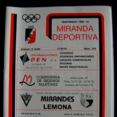 Coleccionismo deportivo: REVISTA MIRANDA DEPORTIVA Nº 418. (EQUIPO FUTBOL MIRANDES - CALAHORRA). TEMPORADA 1992-1993.. Lote 52009648